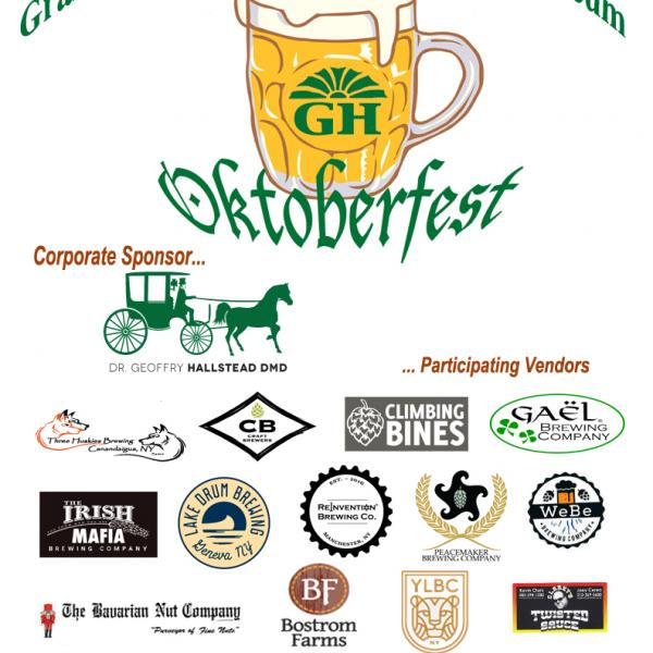 oktoberfest poster with beer mug and green text