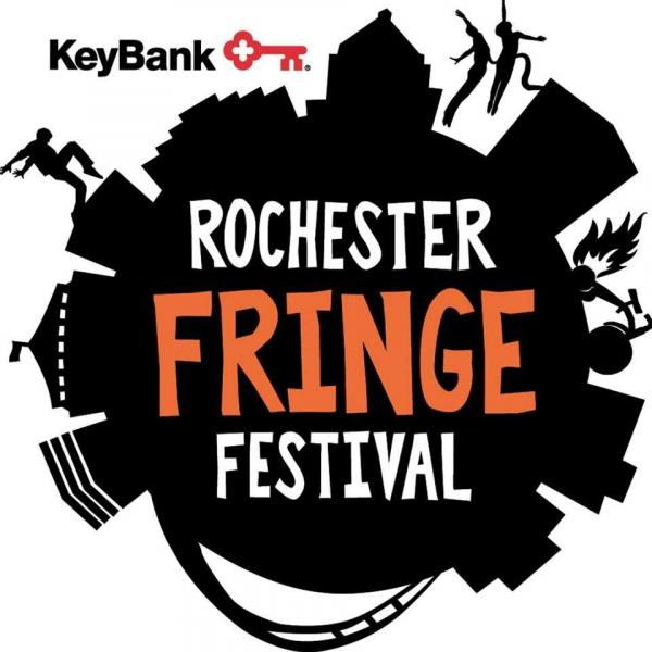 black circle with cityscape outline around the perimeter white rochester text in the middle of the circle, orange fringe text and white festival text all stacked in middle