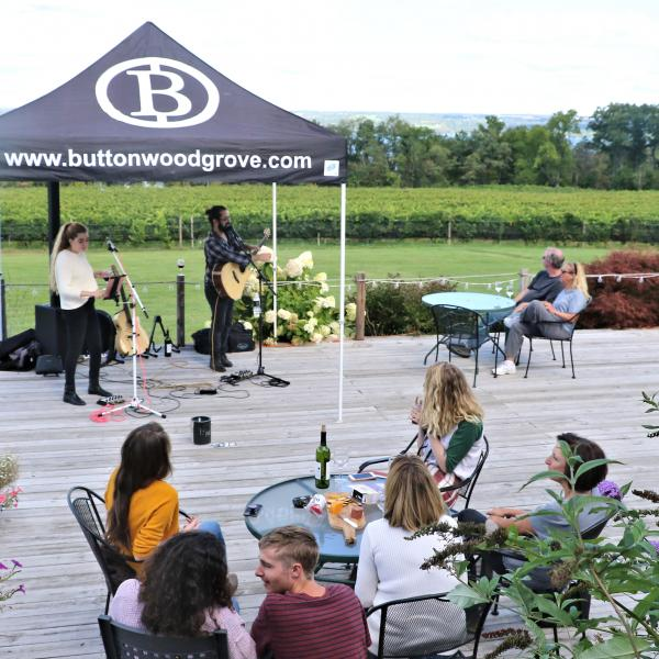 Lub Dub Acoustic Duo performing at Buttonwood Grove