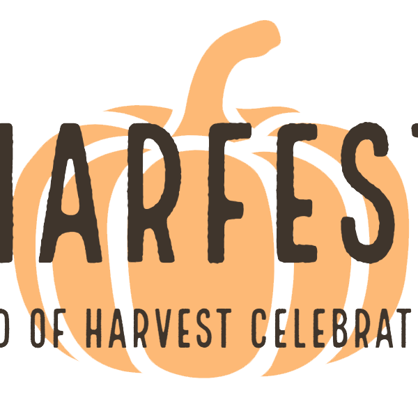 "Pumpkin logo with text overlay of the words ""Harfest, end of harvest celebration."""