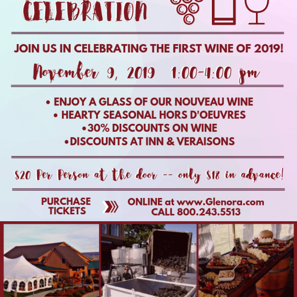 Colorful flyer advertising 2019's Nouveau Celebration on the Lawn at Glenora Wine Cellars, including menu & ticket pricing.