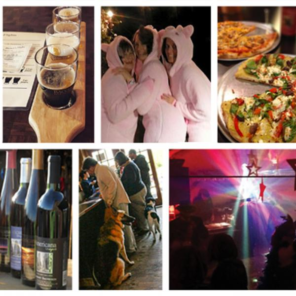collage of images including people dancing, man in bottom left corner with two thumbs up, beer samples lined up, pizza with spinach and roasted peppers