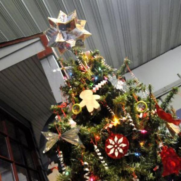 Decorated Christmas Tree with star on top