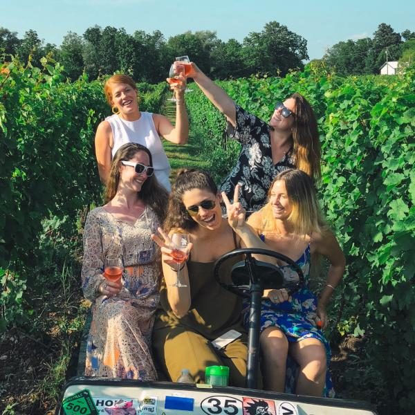 girls in vineyard