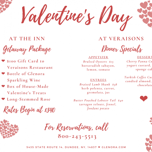 Flyer including details of the Getaway Package and Veraisons Restaurant specials, with hearts and swirling script.