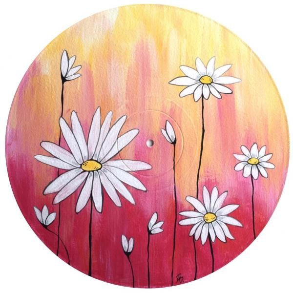 Painting option of Daisies with pink and yellow background.