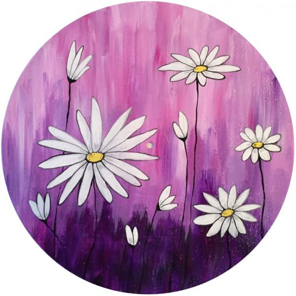 Painting option of Daisies with purple background