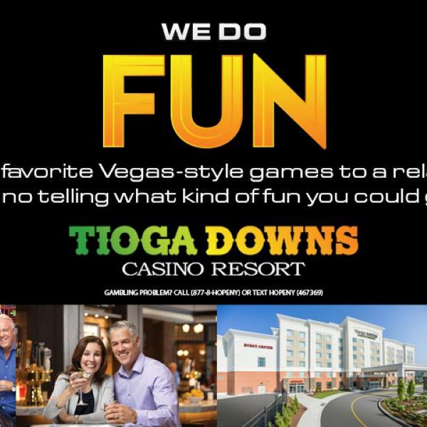 black background with line of images at bottom of a group throwing dice, a man and woman couple cheering on glasses of wine, the hotel exterior and a burger on a plat with white and orange text 'We Do Fun'