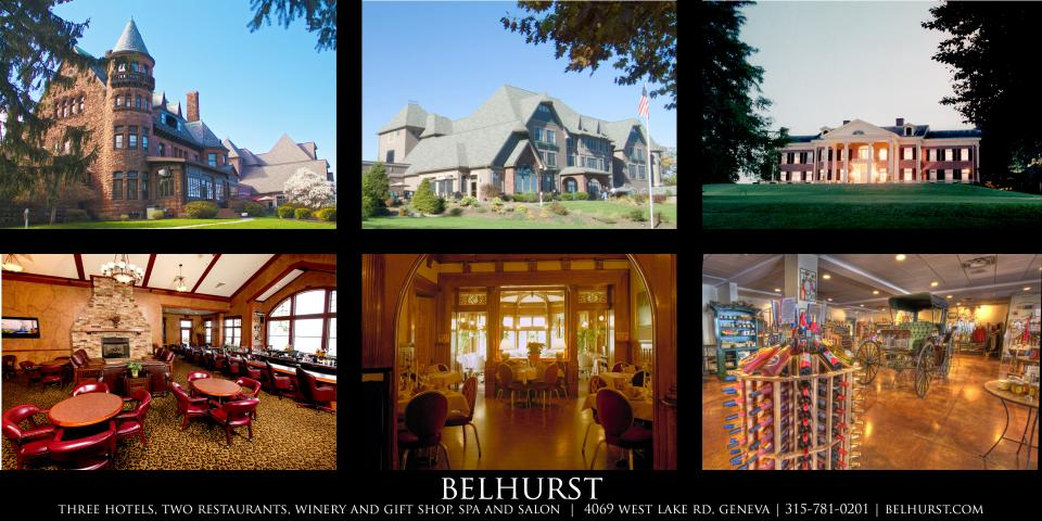 exterior pictures of three belhurst properties and interior of winery, lounge with fireplace