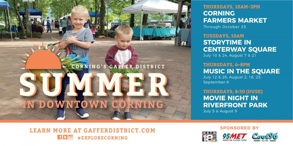 kids smiling in background with 'Gaffer District summer' text in front of them with blue box to right with event text listing