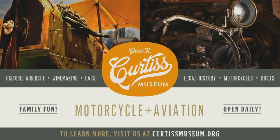 old model engine and motorcycle head close up with orange oval over image in center with Glenn H Curtiss Museum cursive logo text