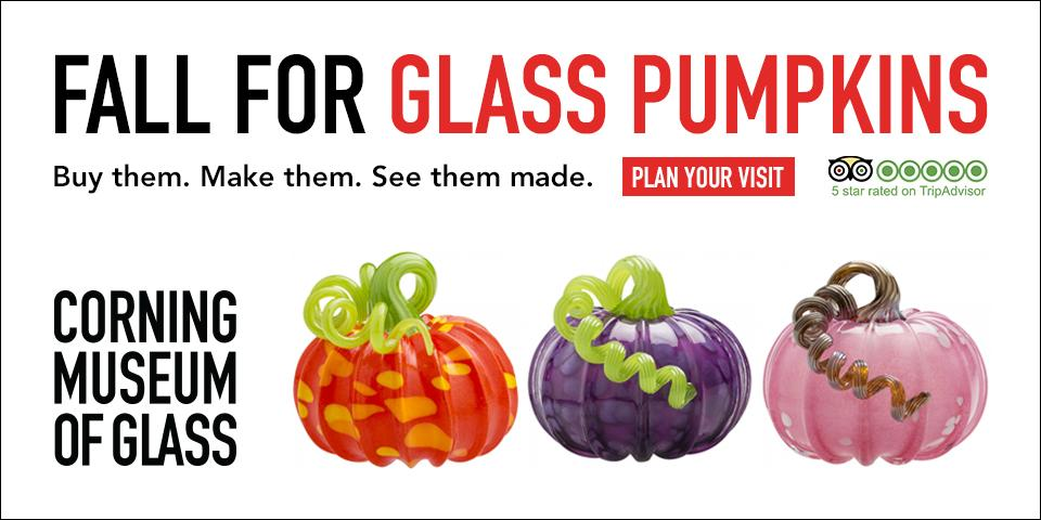 fall for glass pumpkins text with glass pumpkins text in red with orange, purple, and pink glass pumpkins in foreground