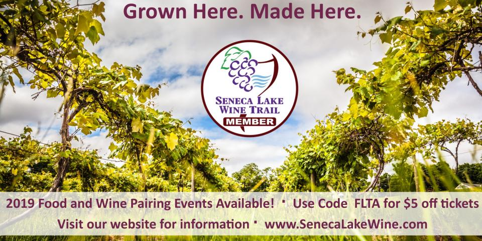 row of grapevines with camera view looking up vines into sky - seneca lake wine trail member logo in middle of row and discount code text for event ticket purchase