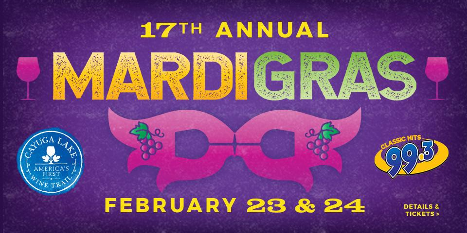 purple background with orange and green mardi gras text with pink mardi gras mask below the text
