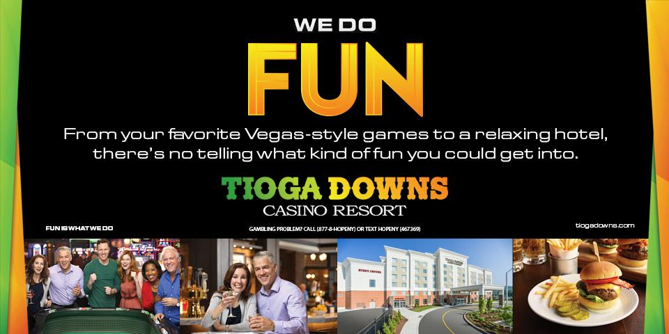 black background with people playing slot at bottom of image, dining plate with entree, people laughing and enjoying casino games and yellow/orange fun text