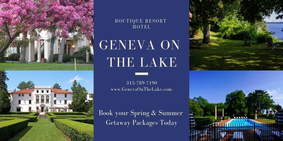 photo collage with blue box in middle and white text overlay with Geneva on the Lake name, cherry blossom trees in front of property and gardens in back of property