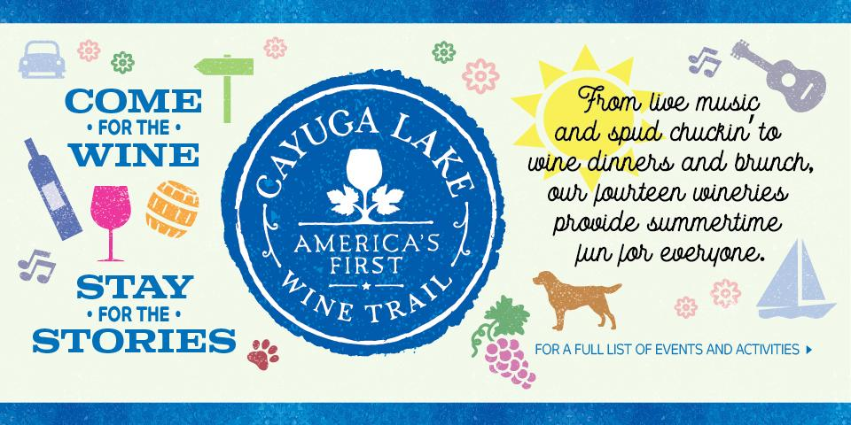 light blue background with dark blue lines at header and footer with blue Cayuga Lake Wine Trail circle logo in middle