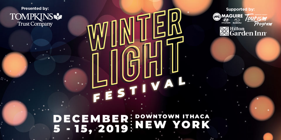 Winter Light Festival: dark background with burred lights