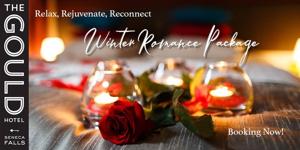roses and candles on bed with white cursive script 'relax, rejouvenate, reconnect, Winter Romance Package'