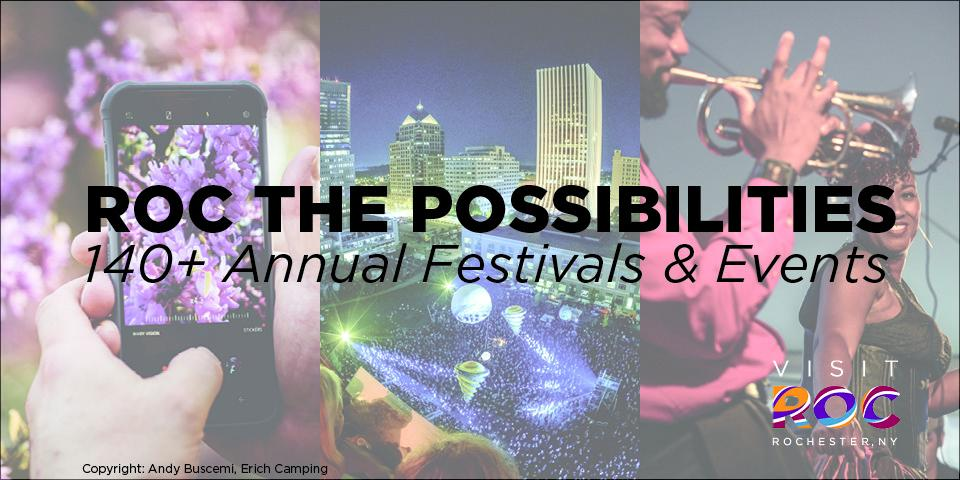 roc the possibilities black overlay text on top of mobile phone image with person capturing a concert in the background, middle image of buildings lit up in different colors in middle, and African American playing trumpet at image to right