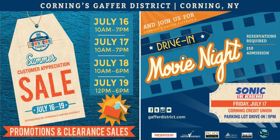 white tag graphic with orange SALE lettering and gaffer district white text with drive in movie night promotion text