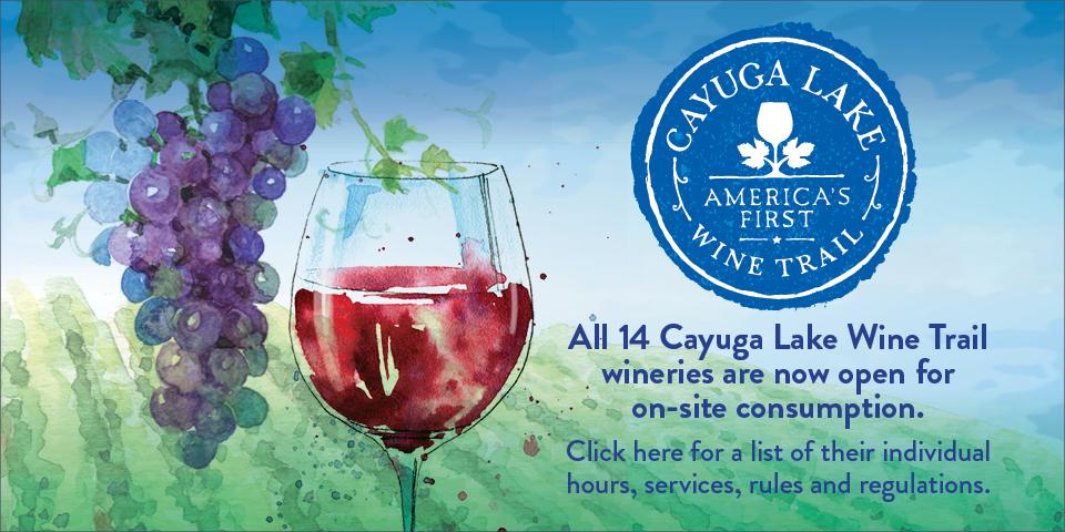 illustration of purple grape cluster and red wine in wine glass, blue circle logo to top right of ad