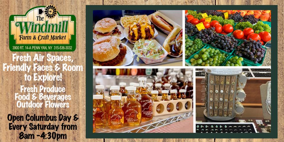 wood grain background with windmill green and yellow logo at top left, collage of fresh fruits, honey, jewelry and burger hot dog and fries with white text and black text to left of image